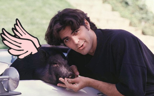 George Clooney and pig